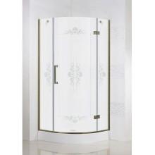 Душевая дверь Cezares Magic R1 Royal Palace (90x90) (правый) матовое стекло с прозрачным узором (бронза)
